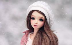 Long Hair Cute Barbie Doll in Winter Cap Full HD wallpaper Image Photo