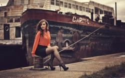 Beautiful Woman Dock Ship
