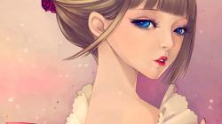 Beauty Anime Blonde Girl Blue Eyes