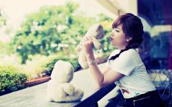 Beauty Brunette Asian Teddy Bears Toys Photo