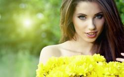 Beautiful Brunette Model Yellow Dress Wallpapers