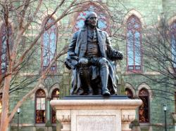 This statue of Benjamin Franklin donated by Justus C. Strawbridge to the City of Philadelphia in 1899 now sits in front of College Hall. [16]