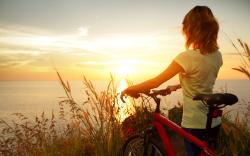 Biker girl watch sunset