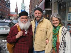 Okay — here we are recently in town, one day after a slush storm — Bill Porter (Red Pine) has just come down from up north Vermont on the morning bus.