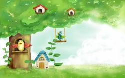 Birds Houses Tree Leaves Fairy Tale Childhood Grass Drawing Painting