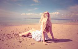 Mood Beach Blonde Girl Sand Sea Photo Wallpaper