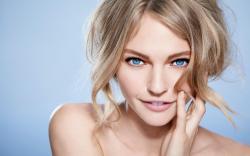 Blonde radiant blue eyes