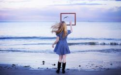Blonde Girl Beach Sea Bird Mood HD Wallpaper