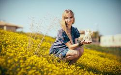 Blonde Girl Field Yellow Flowers Mood