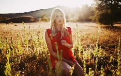 Blonde Girl Red Dress Sunlight Fashion