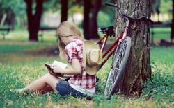 Blonde Girl Summer Park Bicycle