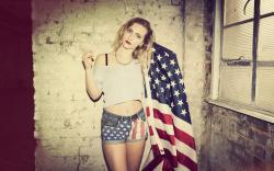 Blonde Girl US Flag