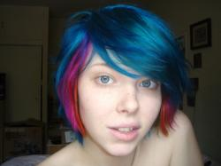 ... blue pink and orange hair | by Megan is me.