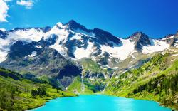 Blue lake mountains scenery