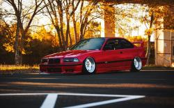 BMW E36 Red Car Tuning Autumn
