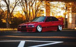 BMW E36 Red Car Tuning Autumn