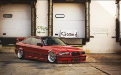 BMW E36 Red Tuning Parking