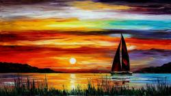 Boat sunset painting Wallpaper in 1366x768 HD Resolutions