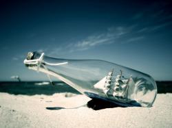 boat in bottle creative wallpaper