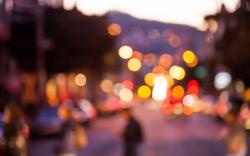 Bokeh Lights Colorful City Street People Cars
