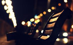 Bench City Street Night Lights Bokeh Photo