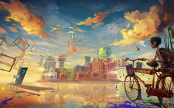 Drawing Boy Bicycle Fantasy City Music Paint Art HD Wallpaper