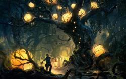 Boy Forest Trees Lights Artwork