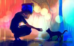 Boy meets cat rain Wallpapers Pictures Photos Images · «