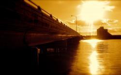 Bridge sunset reflection