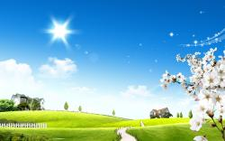 This free scenery wallpaper shows bright sun glow. The white flowers seem to be making a welcoming gesture, and near is a rainbow.