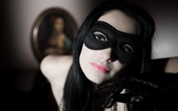 Download Girl, Mask, Brunette, Lips, Lipstick, Pin-ball Wallpaper, Background