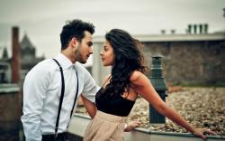 Brunette Girl Man Couple Love