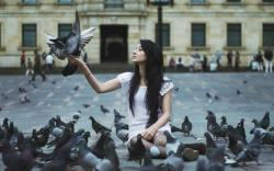 Brunette Girl Lots of Pigeons Pedestrian Pavement HD Wallpaper