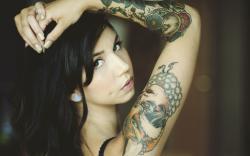 Brunette Girl Tattoos Photo
