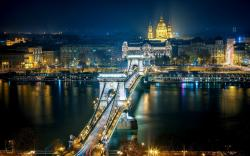 Chain Bridge Budapest Hungary Night Light HD Wallpaper