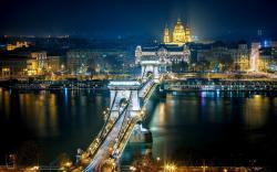 Chain Bridge Budapest Hungary Night Light HD Wallpaper
