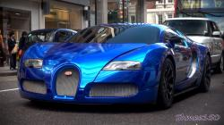 BLUE CHROME Bugatti Veyron Centenaire - Driving in London