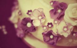 Cake Close-Up Flowers Purple White