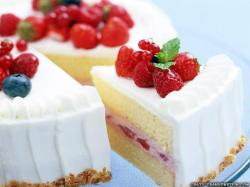 Wallpaper: Cake with raspberries