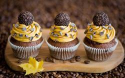 Cakes Dessert Coffee Leaf Yellow Autumn