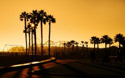 Appealing Santa Monica Beach Sunset California Wallpaper