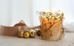 Candle Ribbon Beads Gold Christmas New Year Winter