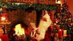 Preview wallpaper new year, christmas, santa claus, letter, gifts, fireplace,