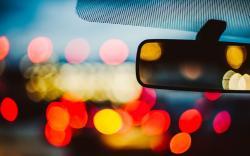 Car Mirror Bokeh Lights