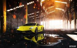 Car Lamborghini Gallardo Superleggera Yellow Front Warehouse