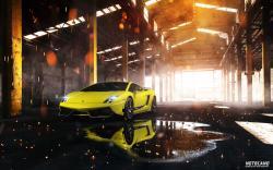Car Lamborghini Gallardo Superleggera Yellow Front Warehouse