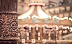 Carousel Bokeh Lights City Paris France