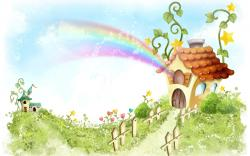 House Nature Cartoon Wallpaper