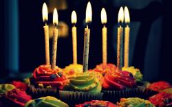 Celebration Cake Muffins Birthday Candles Fire Flame