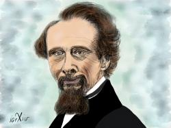 Charles Dickens portrait in Paper